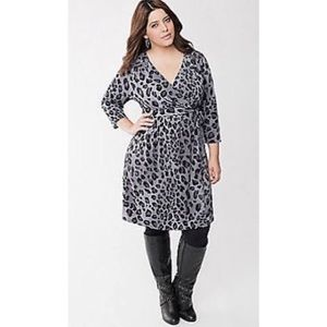 Lane Bryant Cheetah Print Wrap Dress